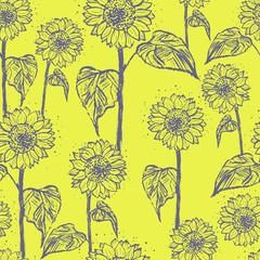 Ink hand drawn sunflowers seamless pattern