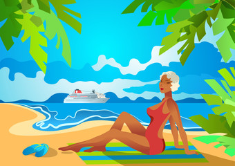 Beautiful woman on a tropical beach watching on cruise liner. Holiday on the French Riviera, Liguria, Caribbean. Poster in the Art Deco style.