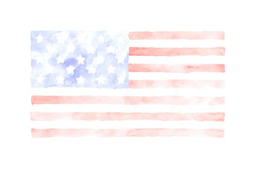 Watercolor USA Flag isolated on white background. The USA patriotic background.