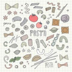 Hand- drawn pasta set. Vector illustration