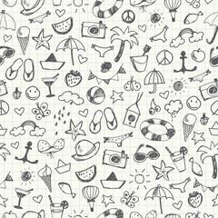 Summer Doodles seamless pattern. Vector illustration