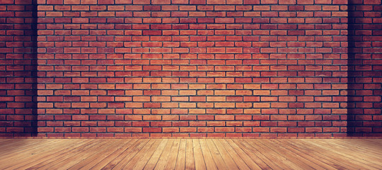 Foto op Textielframe Baksteen muur Red brick wall texture and wood floor background