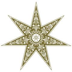 Fairy Star, elven star, decorative heptagram, wicca