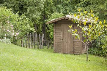 garden hut and an old gate