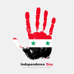 Handprint with the Flag of Syria in grunge style