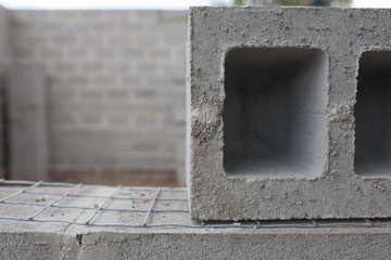 Stack of cement blocks at the construction site.