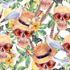 Summer watercolor skull Day of The Dead seamless sattern