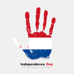 Handprint with Flag of the Netherlands in grunge style
