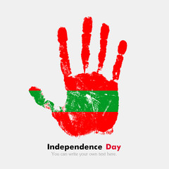 Handprint with the Flag of Transnistria in grunge style