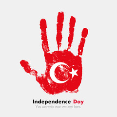 Handprint with the Flag of Turkey in grunge style