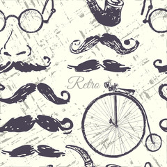 Ink hand drawn retro seamless pattern