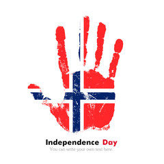 Handprint with the Norwegian flag in grunge style