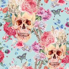 Watercolor seamless pattern with skull and pink peony