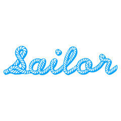 Sailor, rope, knot, typeface, vector, blue