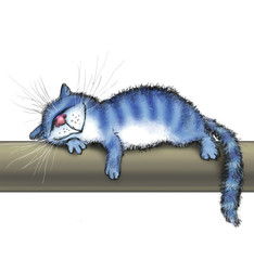 A cat lies on a warm tube
