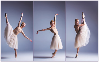 The young beautiful ballerina dancing on a gray background. Collage