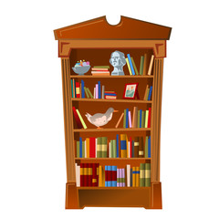 Bookshelf with bust, photo frame and toy