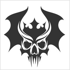 skull with bat wings and a crown