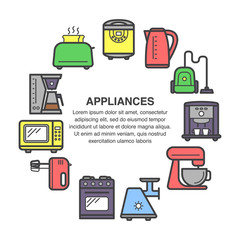 Kitchen appliances icons in a circle composition made in flat style.