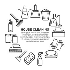 House cleaning icons in a circle composition made in line art style.