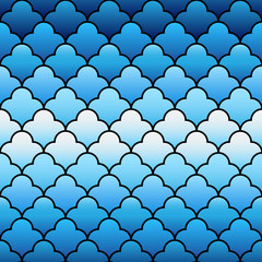 Blue arabic traditional geometric quatrefoil seamless pattern, vector