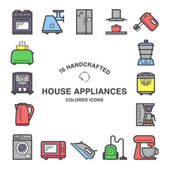 Set of 16  house appliances icons made in flat style.