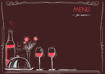 Menu card for lovers.Love card romantic dinner.