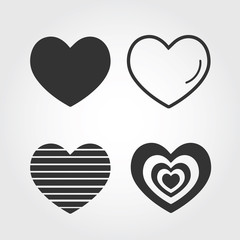 Vector hearts set. icon, flat design