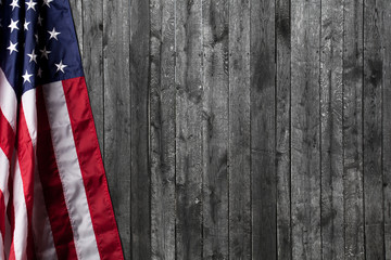 United States Flag on old wooden background