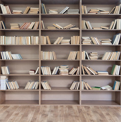 Book shelf with many books