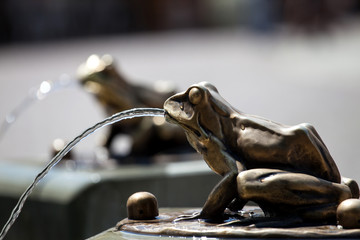 Fountain with frogs in Torun, Frog Sculpture Pouring Water Fountain Detail