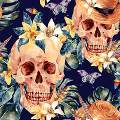 Summer watercolor vector skull, tropical leaves, flowers