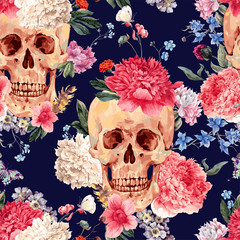 Vector seamless pattern with skull and flowers
