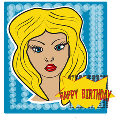 Pop art style girl on halftone background with happy birthday bubble. Sticker, poster. Vector