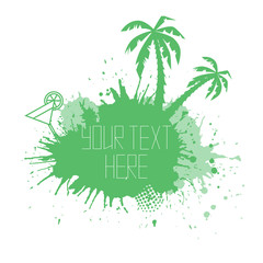 Summer banner with watercolor splashes palm trees and space for text. Vector element for your design