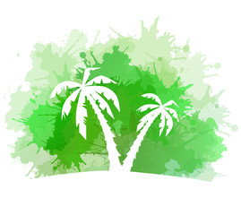 Summer banner with watercolor splashes and palm trees. Vector element for your design