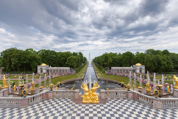 ountains of Lower Gardens, the Sea Canal  in Peterhof, Russia