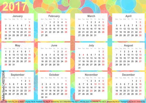 kalender 2017 hintergrund mit bunten kreisen jeder monat. Black Bedroom Furniture Sets. Home Design Ideas