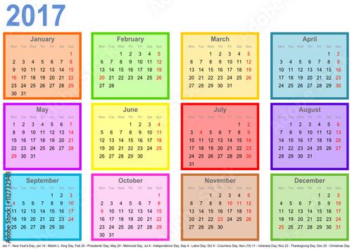 """Kalender 2017, jeder Monat in"