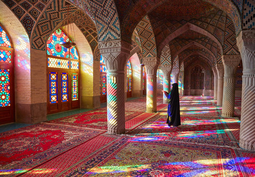 SHIRAZ, IRAN - March 01, 2016: Muslim woman praying
