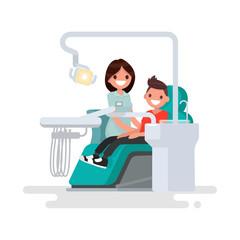 Dental office. Children's dentist and patient. Vector illustrati