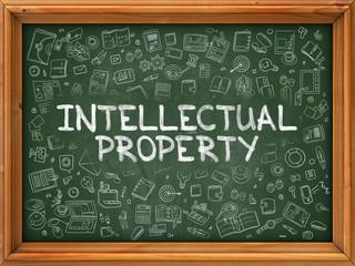 Intellectual Property - Hand Drawn on Chalkboard. Intellectual Property with Doodle Icons Around.
