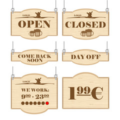 Western bar logo set collection with open, closed, day off signs in outline. Digital vector image.