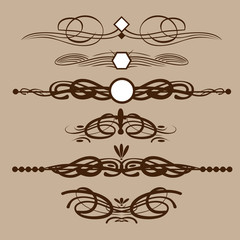 Abstract brown floral shape frames set in outline. Digital vector image.