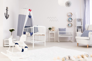 Baby room decorated in marine style
