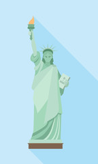 Statue of Liberty in New York. Blue background with shadow.