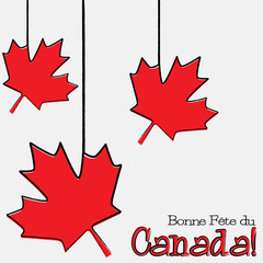 Hand drawn maple leaf Canada Day card in vector format.