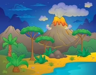 Prehistoric night landscape 1