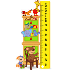 wooden cabinet with toys measure the child growth (in original proportions 1:4)  - vector illustration, eps