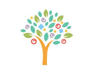 Modern Tree Logo - Colorful Creative Tree Symbol